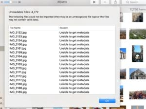 How to work around the 'Unable to get metadata' error in Photos