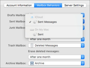 How to adjust mailbox behavior for sent mail via iCloud from a Mac